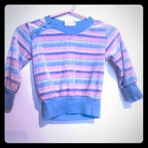 Vintage Soft Velour Blue Pink Top Retro Sweatshirt